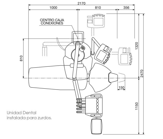 Чертёж и измерения стоматологической установки Fedesa Coral левосторонняя